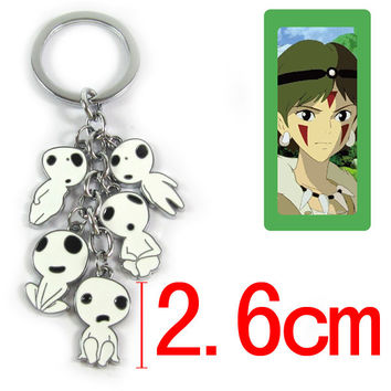 Anime Cartoon Miyazaki Hayao Princess Mononoke Keychains Metal Figures Doll Toys Pendants Key Chains Kids Gift Free Shipping