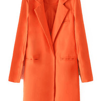 Orange Notched Collar Single Button Long Sleeve Blazer
