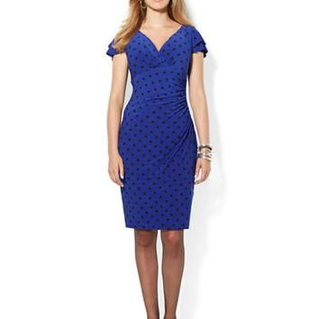 Lauren Ralph Lauren Plus Flutter Sleeve Matte Jersey Polka Dot Dress