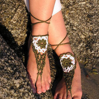 Crochet Barefoot Sandals, Nude shoes, Foot jewelry, Barefoot Sandals , Sexy, Yoga, Anklet , Bellydance, Steampunk, Beach Pool