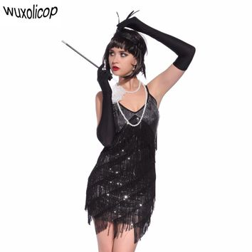 Stunning Stage Dance Costume Tiered Tassel V-Neck Fringe Dress 1920s Great Gatsby Dress Flapper Party Sequin Cami Dress