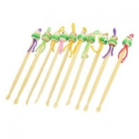 Green Cartoon Doll Decor Bamboo Earwax Removers Cleaning Earpick 10 Pcs