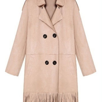 2015 new winter long paragraph suede fringed slim double breasted jacket coat 3455 = 1956179524