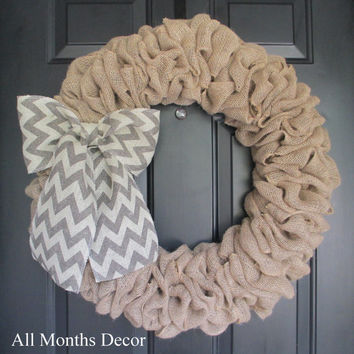 Natural Burlap Wreath with Gray/Off White Chevron Burlap Bow, Rustic, Country Decor, Spring Easter Fall Winter, Year Round, Fall, Porch Door