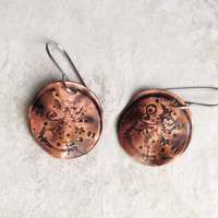 Copper Coin Impressed Patina Earrings