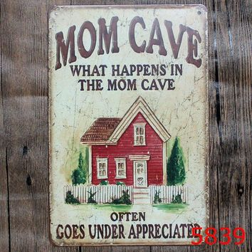 Mon Cave Metal Tin Sign Hotel/Family Wall Decor Metal Sign Vintage Home Decor Metal Plaque Retro Painting Art Poster 20*30cm