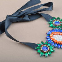 Handmade colorful bead embroidered necklace with rhinestones and ribbons Peacock