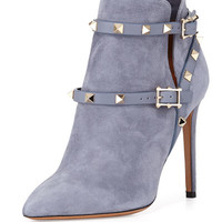 Valentino Rockstud Suede Ankle Bootie, Gray