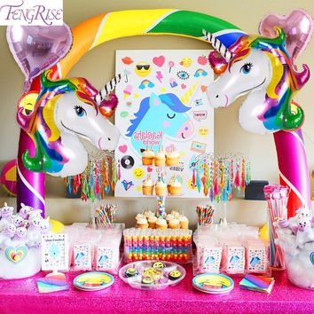 FENGRISE Rainbow Unicorn Party Decoration Aluminum Star Foil Balloons Set Unicorn Kids Happy Birthday Wedding Party Supplies