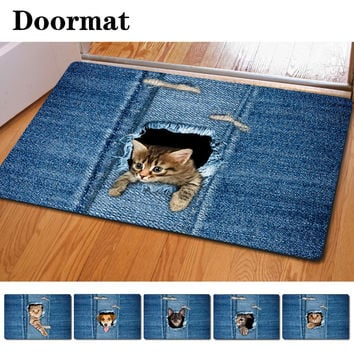 Kawaii Welcome Floor Mats Animal Cute Cat Dog Print Bathroom Kitchen Carpet House Doormats for Living Room Anti-Slip Rug