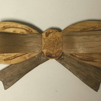 Prize Winning Ribbon Wooden Bow Tie