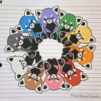 Chibi Red Panda Stickers and Magnets