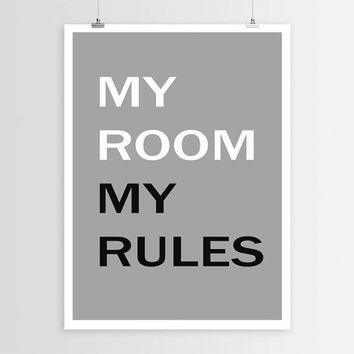 "PRINTABLE""My room my rules""Bedroom Poster Typography Art Funny Wall Art Nap Print Funny Typography Wall Decor Word Art Typography poster art"
