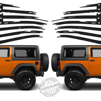 (2) 6 or 12 inch American Distressed Wavy Flag Vinyl Decals fits: Jeep Trucks Universal