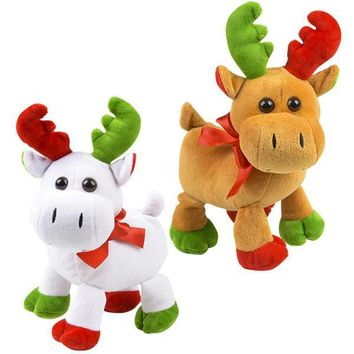 "8"" Christmas Moose Plush Toy Stuffed Animal"