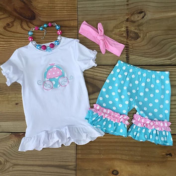 Pink & Blue Carriage Short Set