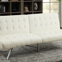 Nathaniel collection white faux leather upholstered futon bed