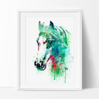 Horse Watercolor Print, Horse Art Print, Watercolor Art, Animal Watercolor, Horse Home Decor Wall Art, Horse Painting Print, Wall Art (286)