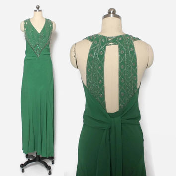 Vintage 30s EVENING GOWN / 1930s Stunning Beaded Green Crepe Bias Cut Formal Dress S - M