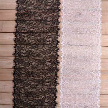 3 yard / lot  30cm Wide Black White Lace Fabric trim Wedding Decoration Sewing Applique Eyelashes Lace Ribbon Applique LT017