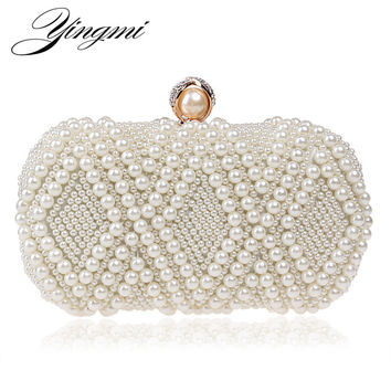 Beading Wedding  Lady Day Clutches Rhinestones Luxurious Handmade Style Women Evening Bags Pearl Diamonds Purse Bags