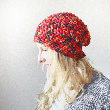 Red Multicolour Slouchy Hat - Super Soft Knitted in Colourful Yarn - Women's Accessories - Ladies Accessory - Hand Knitted