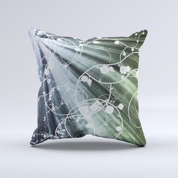 Green and White Light Arrays with Glowing Vines Ink-Fuzed Decorative Throw Pillow