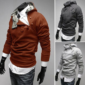 Men Hoodies Winter Rabbit Hats Korean Slim Pullover Zippers Jacket [6528702979]