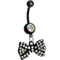Black Aurora Gem Paved Bow Dangle Belly Ring | Body Candy Body Jewelry