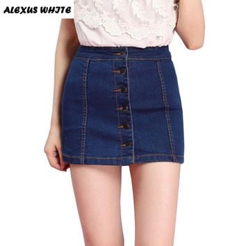 Womens Jeans Skirts S-2XL Ladies Casual Stretch Denim Mini Skirts Faldas Jupe Patineuse