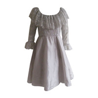 1960s Oscar De La Renta Pale Grey Silk Empire Dress