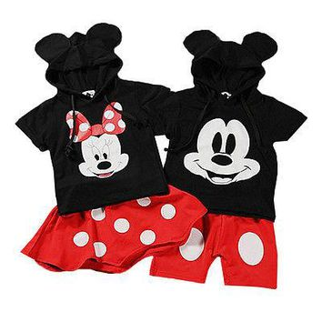 2016 New Minnie Mouse Baby Boy Girls Clothes Tops+ tutu Dress Pants Outfit Set