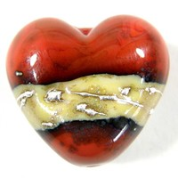 Heart Bead Lampwork Focal Coral Orange Glass Ivory Band Fine Silver