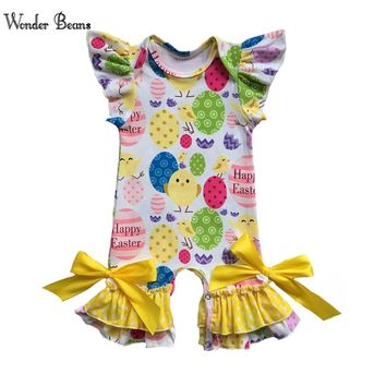 Baby Girl Easter Romper Infant Girls Soft Cotton Ruffle Onesuit Newborn Baby Clothing First Easter Outfit Baby Clothes