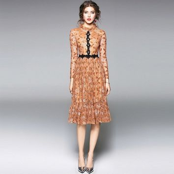 Camel Brown Stand Up Collar Fitted Long Sleeve Floral Print Lace Pleated Midi Dress