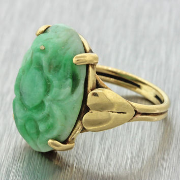 1920s Antique Art Deco Estate 14k Solid Yellow Gold Carved Jade Statement Ring