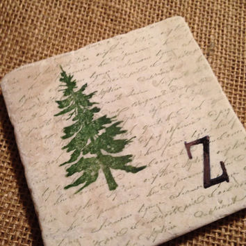Tree Stone Coaster Tile Wedding Favors Cabin Woods Black Brown Evergreen Ozark Mountains Gone Hunting Farm Country Personalized Monogram