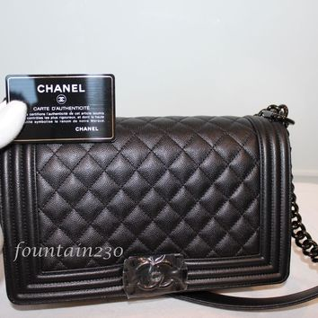 "New In Box Chanel 2017 Medium ""So black"" Le Boy Bag"