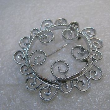 "Vintage Sarah Coventry Scrolled Brooch, 1970's, 2"", Silver Tone"