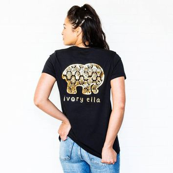 Ella Fit Black Gold Foil Hamsa Tee