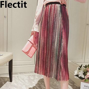 Flectit Metallic Glitter Lurex Stripe Pleated Midi Skirt Vintage Sequin High Waist Accordion Pleat Skirts Women Outfits