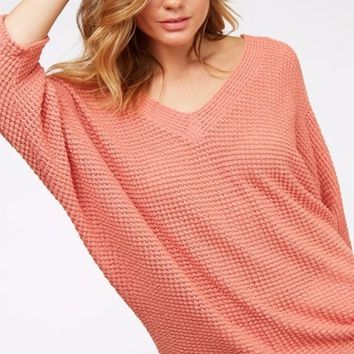 Sienna Waffle V Neck Batwing Knit Top