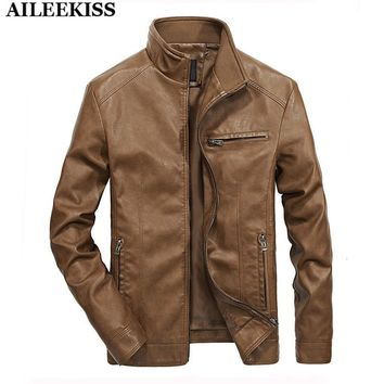 Mens Casual Moto Biker Leather Jackets