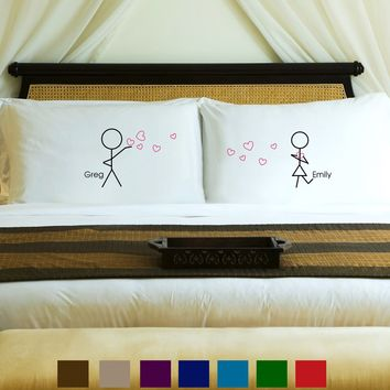 Couples Pillow Case Set - Stick Figures Personalized Free