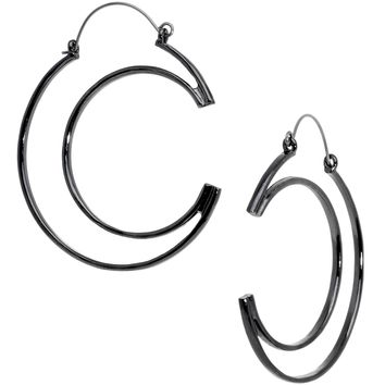 Black Howl at the Moon Crescent Moon Tunnel Plug Earrings
