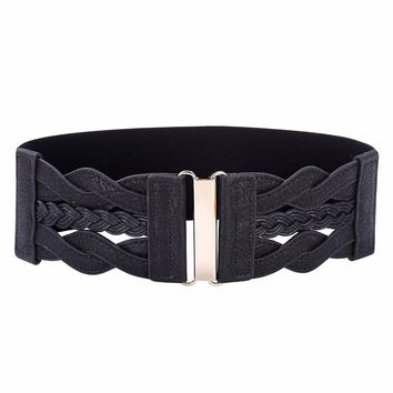 Women Ladies Girls Fashion Wide Braided Polyurethane Leather Black Stretchy Elastic Waist Belt Waistband Elastic Waist Belt