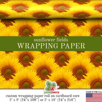 Yellow Sunflowers Floral Wrapping Paper | Yellow Sunflower Fields Photo Gift Wrap In Two Sizes Great For Any Occasion. Made In The USA