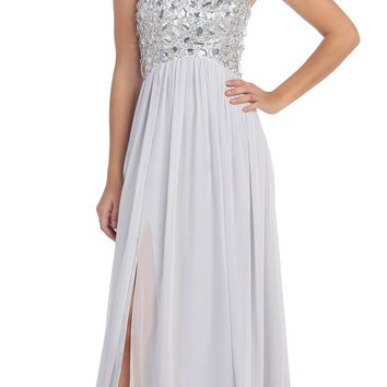 Layered Strapless Laced Bodice Long Silver Prom Dress