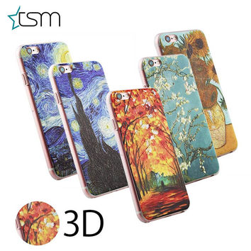 For iphone 5 5S 3D patterns of Van Gogh Starry Night hard back Case Cover Protector Star Sky Cover Skin