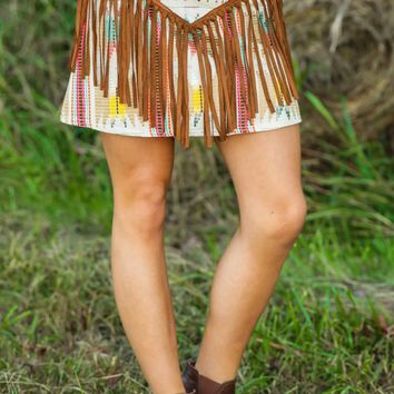 JUDITH MARCH: South By Southwest Skirt-Ivory